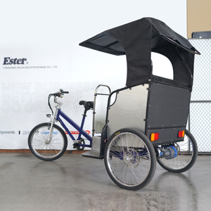 ESTER Bicycle Taxi Rickshaw with Rear Motor, Colorful Canopy to choose