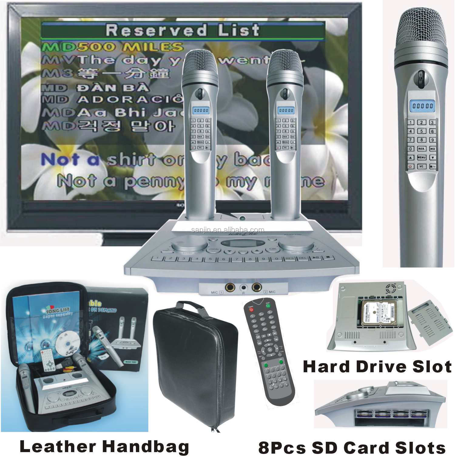 Hard Disk Karaoke player + Wireless Magic Digit Microphone + 8Pcs SD Song Card Slots & 160GB Hard Disk (opsional)