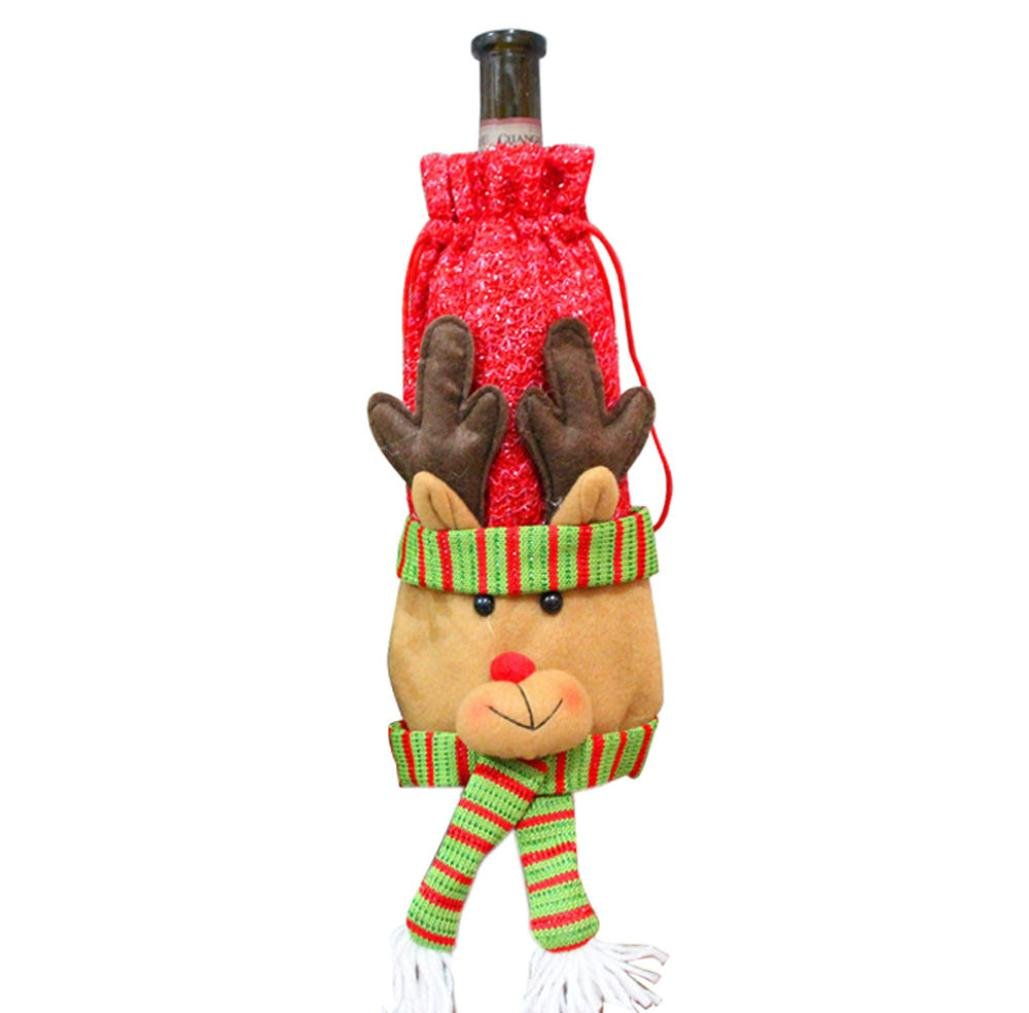 Binmer(TM)Christmas Wine Bottle Cover Bags Decoration Home Party Santa Xmas Bottle Cap Xmas Decor