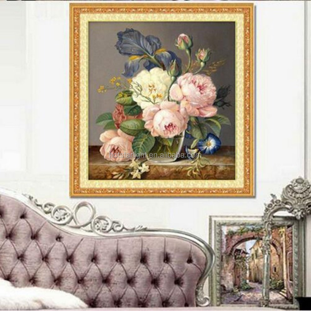 Embroidery Diamond Mosaic Flower Picture 3D Diy Painting Needlework Flores Canvas Home Decoration Canvas Gift
