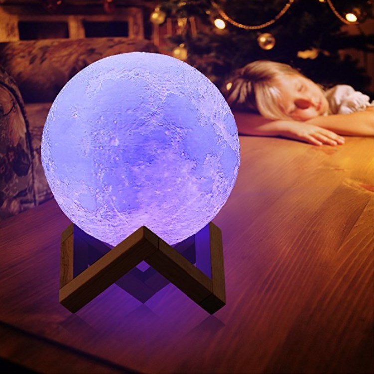Children <strong>Lights</strong> to Bedroom USB Recharge Touch&amp; Remote Control 16 <strong>Color</strong> 3d Moon <strong>Light</strong> lamp 20cm