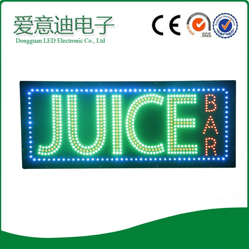 2016 New Design Flashing Acrylic Business Shop Name Juice Bar Led ...
