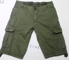 garment dyed plaid mens cargo shorts with belt