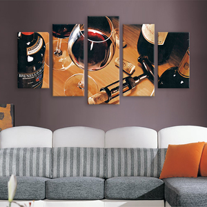 Best Selling 5pcs Red Wine Glass Canvas Painting Wall Art Online For Sale