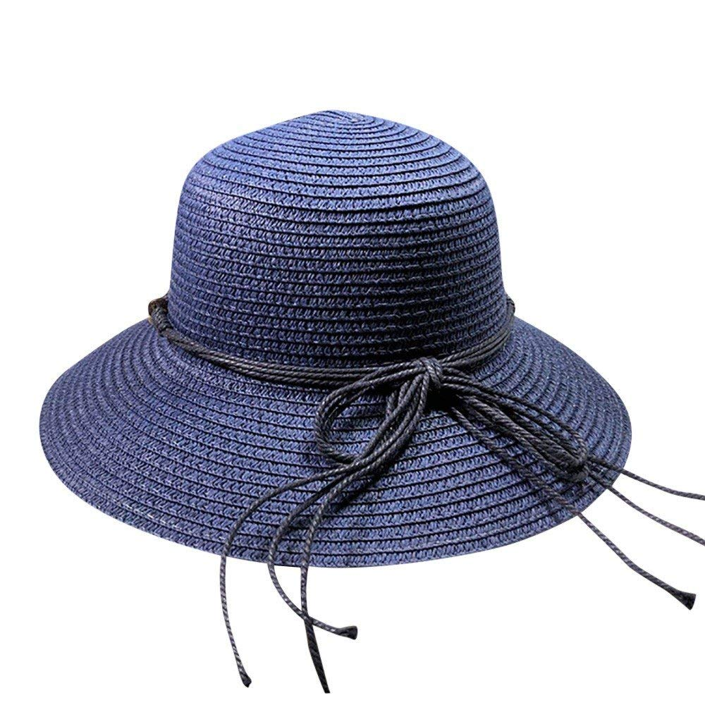 65f08dd0435 Get Quotations · LIULIULIUWomens Floppy Summer Sun Beach Straw Hat UPF50 Foldable  Wide Brim (Blue)