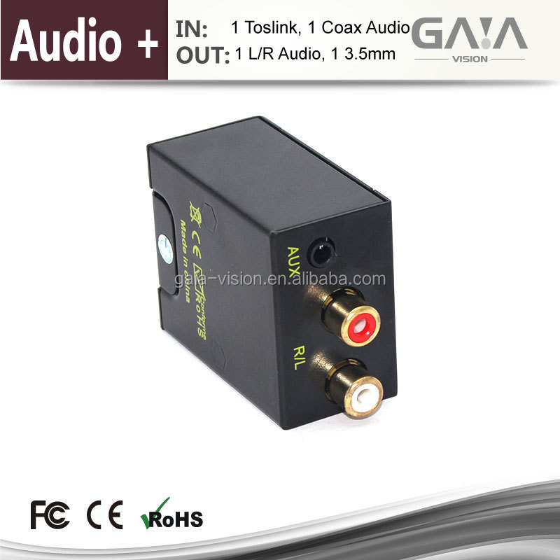 Digital to Analog (L/R) Stereo Audio Converter - Digital Coaxial or Optical Toslink [SPDIF] into Stereo 3.5mm Jack or L/R out