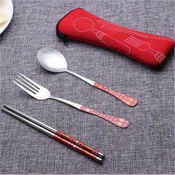 Travelling stainless steel Korean spoon and chopstick with neoprene bag
