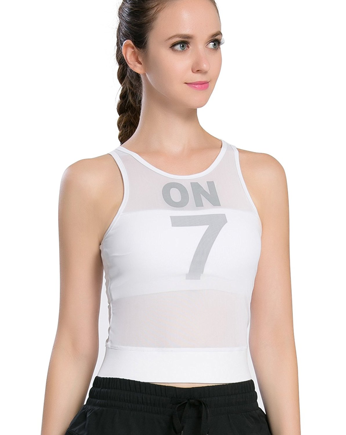 aef4133624 Get Quotations · Campeak Mesh Yoga Workout Sports Tank Tops Built-in Shelf  Bras for women