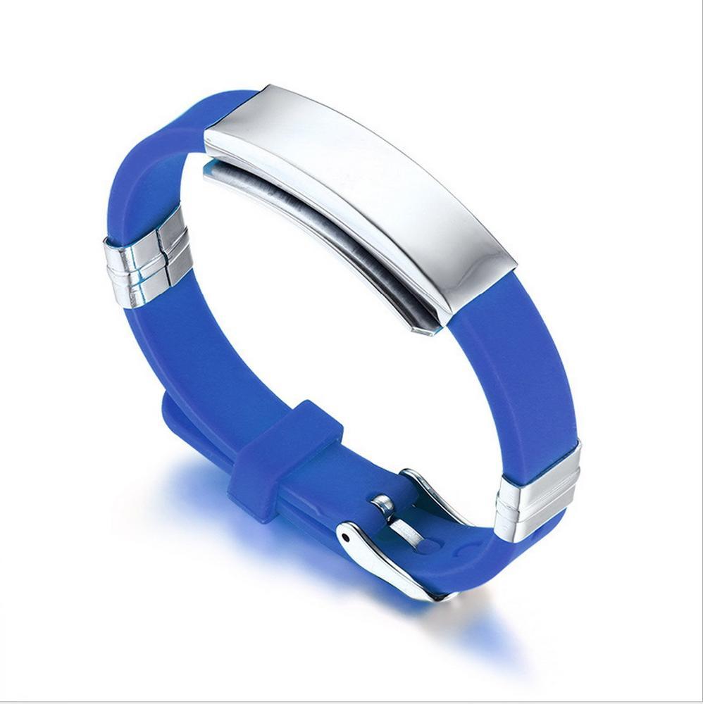 a90be107e10b Venta al por mayor pulseras de silicona con placa de acero-Compre ...