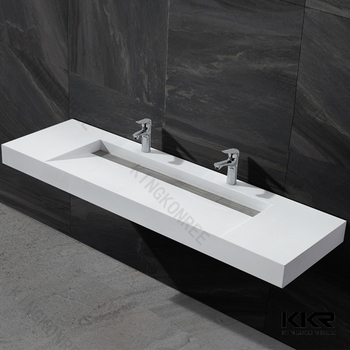 Artificial Stone Trough Sink Two Faucets