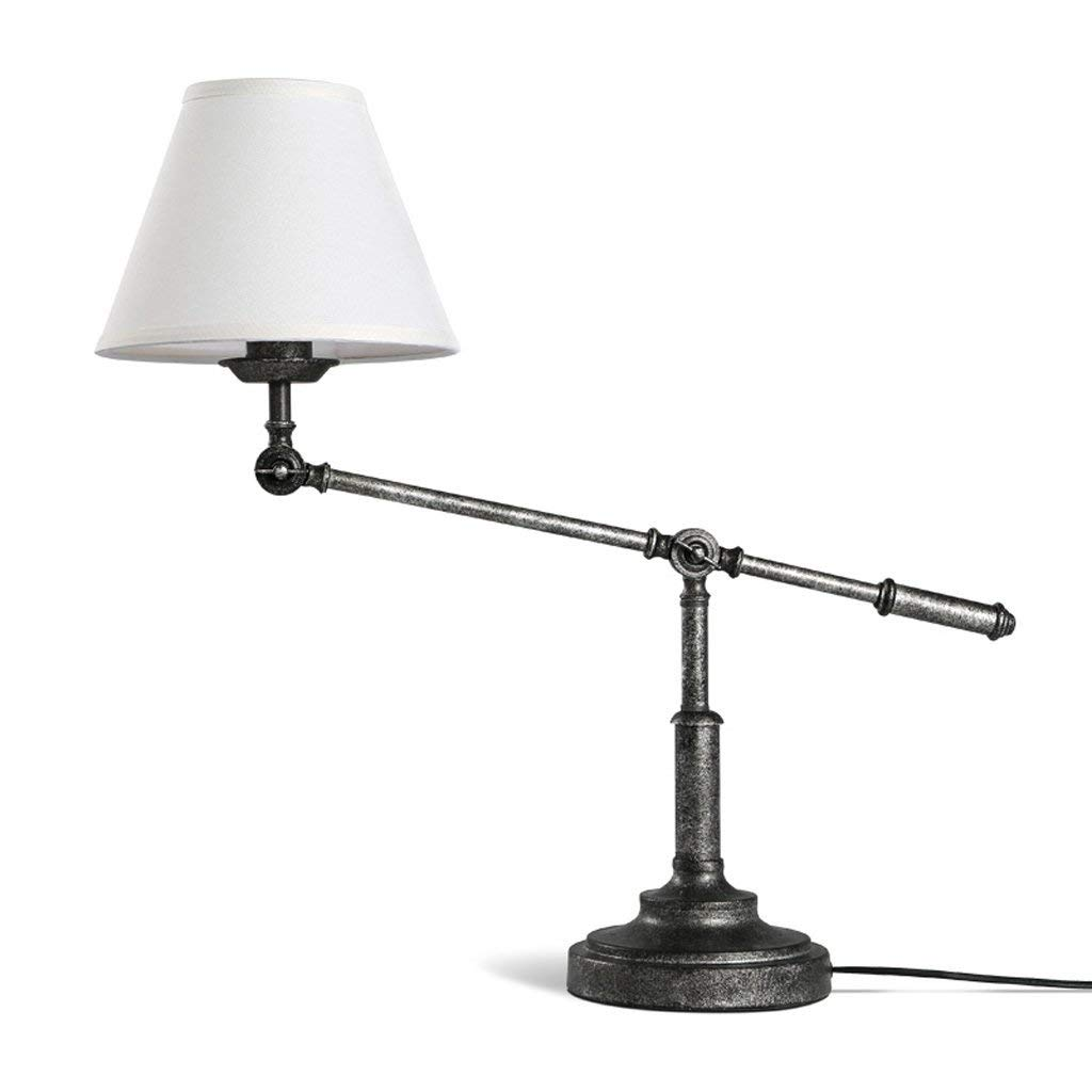 American Retro Industrial Style Creative Long Arm Lamp Living Room Bedroom Study Bedside Reading Lamp Creative Lamp, Cloth Lampshade, Iron Lamp, E27