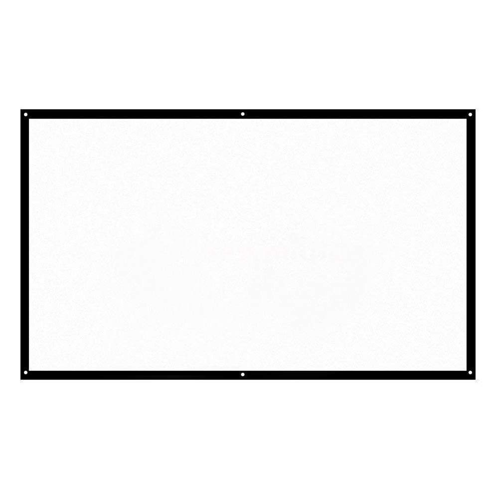 100'' Portable Foldable Projector Screen 16:9 Polyester Simple Soft Rear Front Projection Foldable No Creases HD Home Theater Outdoor 3D Movies (100'')