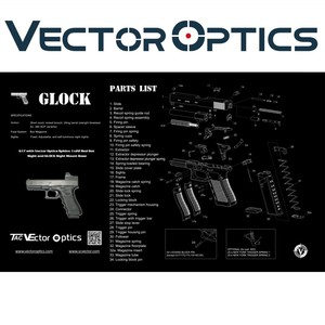 Vector Optics 20x12 Inch GunSimth Rifle Gun Cleaning Bench Rubber Mat with  Glock All Part List Printing
