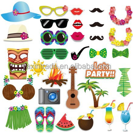 32pcs Amazon Fashion Hawaii LUAU summer scenery hula dance coconut beach party decorating camera photo booth props