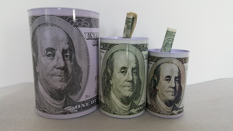 3 pack small, medium, large, 100 Dollar Bill Tin Money Bank, Bank Note Tin Metal Money Box 100$ Bill dollar moneybox, Money Coin Bank, $100 Bill dollar bank, Benjamin Franklin coin bank, Cash Bank