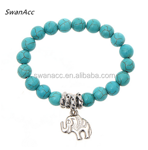 Handmade Female Wedding Party Jewelry Turquoise beaded Tibetan Silver Color elephant pendant Stretch bracelet