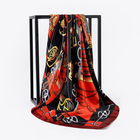 Square scarf 90 * 90cm fashion business style solid square satin silk scarf Customizable design printing