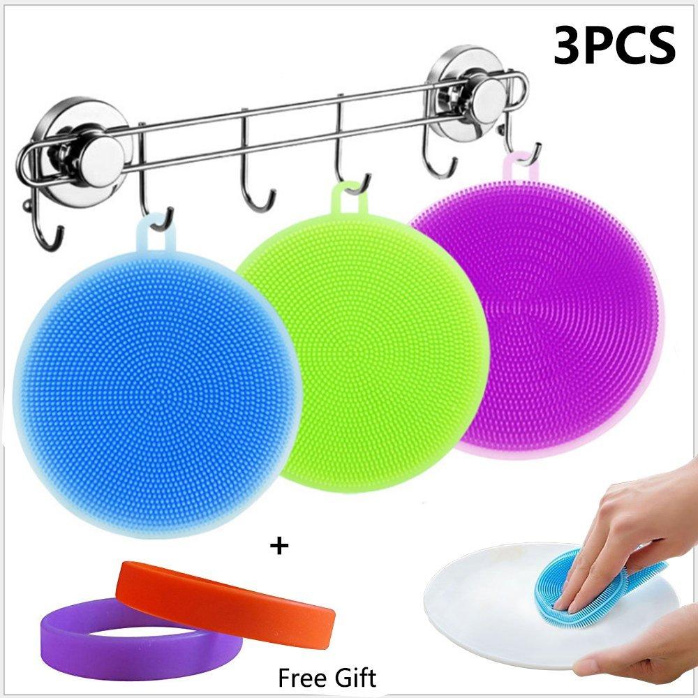 3PCS Multipurpose Silicone Sponge | Fruit Washer | Vegetable Cleaner| Heat-resistant Mat | Kitchen Wash Tool Pot | Pan Dish Bowl Dish Scrubber Brush Set, 2 Free Silicone Bracelets (3 PCS)