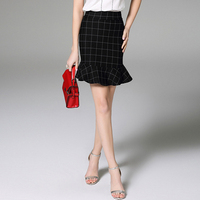 Wholesale 2016 Summer Fashion Ladies Plaid Skirts High Waist Bias Cutting Ruffle Hem Slim Fit Mini Skirt
