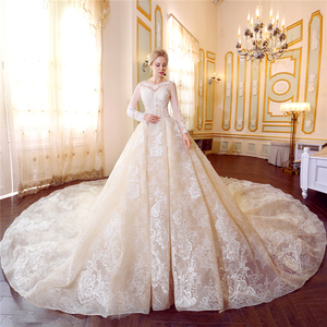 new design muslim wedding dress 2018 champagne sexy backless plus size long sleeve wedding dress