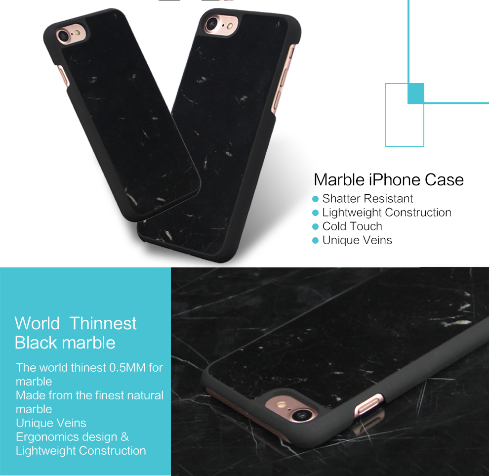 Thin Anti Scratch Shock Proof Dust Proof Real Marble Phone Case For iPhone 7 8