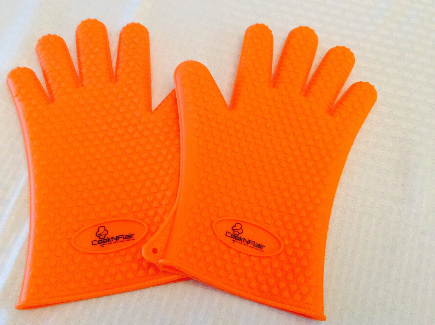 Silicone BBQ Gloves by CookNFlair, Ultimate Burn Protection, Anti-Slip, 5 Finger Grip Design for Safe Cooking & BBQ Grilling -One Size Fits All & Multipurpose,+190g Thickness Resist Heat up to 425°F -FDA Approved Food Safe, Eco-Friendly Construction (Orange)