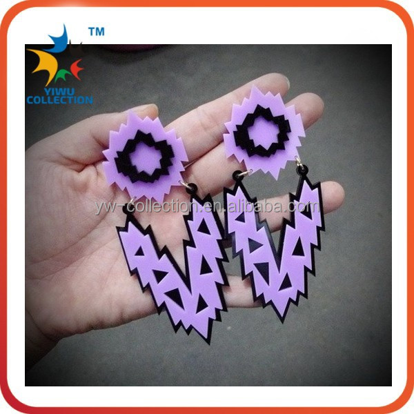 British female personality exaggerated purple letters pow silver acrylic dangle earrings woman noble rock hip hop shinny earring