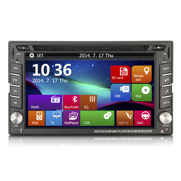 hot sale universal car GPS multimedia navigator with Radio SWC DVD VCD RDS