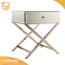 Coolbang modern X-shape stainless steel legs mirrored glass nightstand