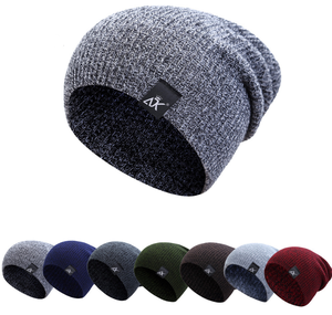 92412219285 Gray Double-Layer Acrylic Velvet Beanie Hat Winter Warm Male Knitted Caps  Outdoor Sports Ski