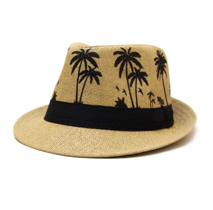 men's straw fedora hat outdoor sun protection palm leaf hats
