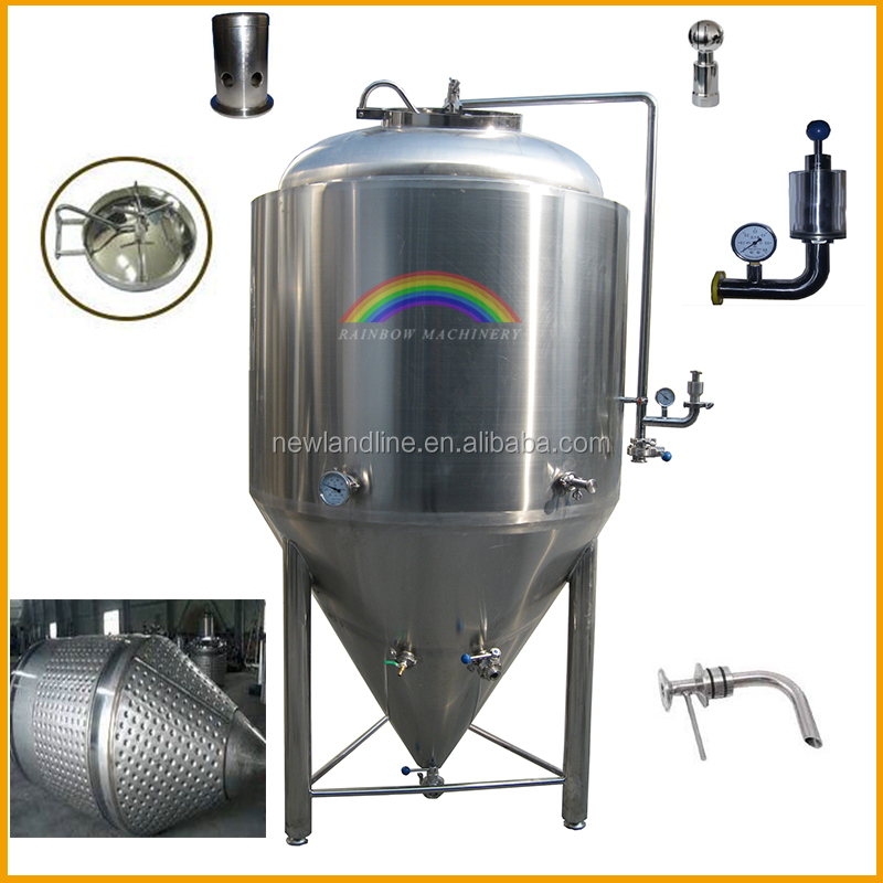 wine and beer cooled stainless steel conical fermenter