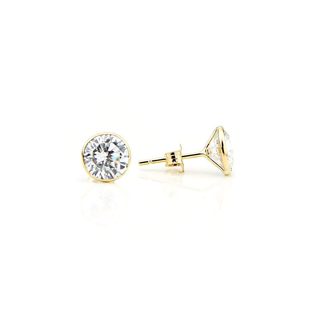 d6ca53f9e Get Quotations · 14K Yellow Gold Handmade Stud Earrings With 8 MM Round  Cubic Zirconia 6.90 Carats