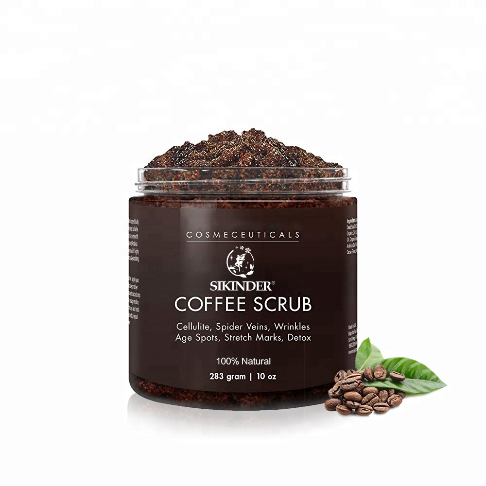 groothandel Private Label Organische kokosnoot Arabica Coffee face Body Scrub