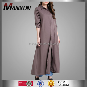 Fashion Women Front Buttons Maxi Shirt Muslim Flowing Long Sleeves Dress Islamic Wholesale Abaya