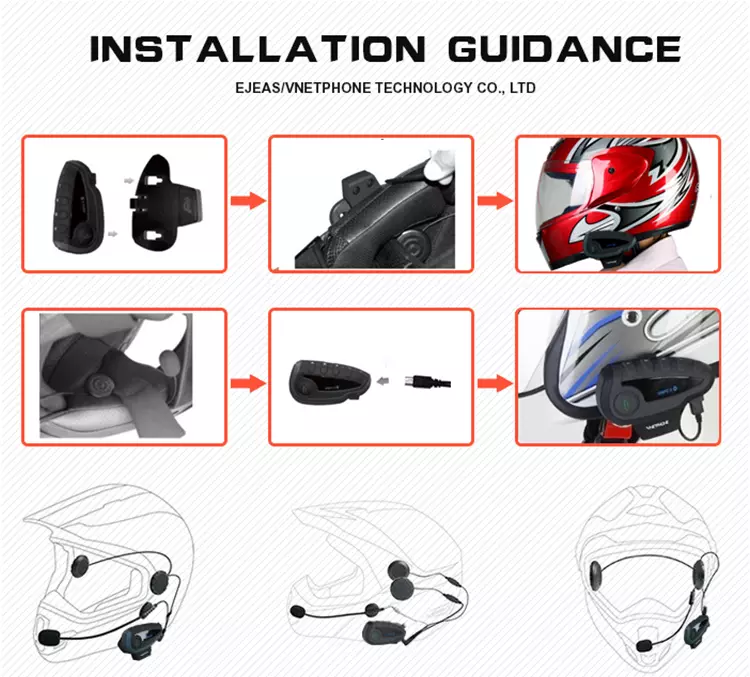 Multi-Functional 2 Way Radio BT Interphone Motorcycle Helmet Bluetooth Intercom Helmet