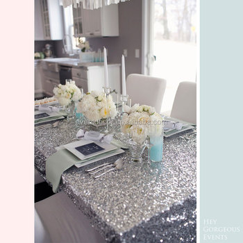 Luxury Silver Glitter Sequined Table Cloths Rectangle Runner Cloth For Party Banquet