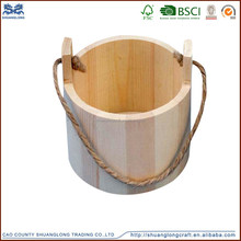 Natural antique wooden mini water bucket with rope handle for sale