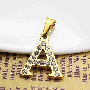Stainless Steel 18K Gold Plated Alphabet Diamond Pendant for Mens Crystal A Letter Jewelry