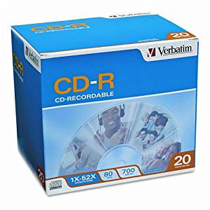 Verbatim : Disc CD-R 80 min Branded 700MB 52X 20/PK Slim Jewel20/PK Slim Jewel -:- Sold as 2 Packs of - 20 - / - Total of 40 Each