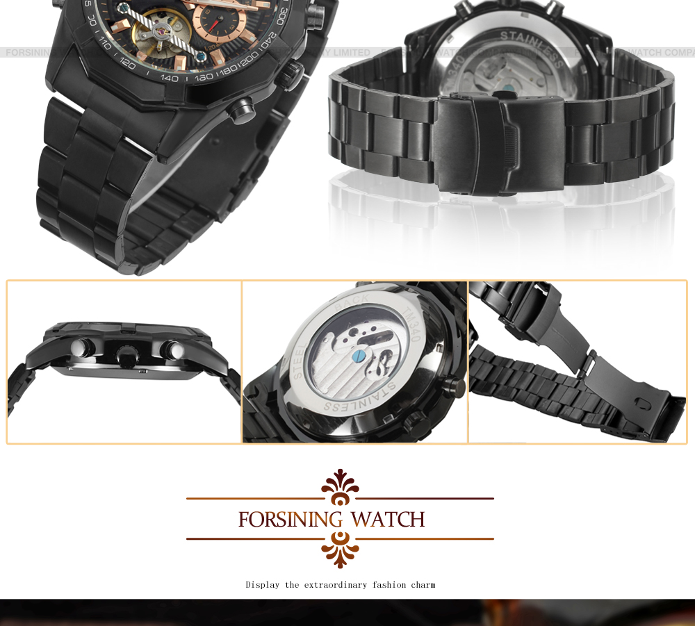 2019 Forsining Fashion Casual Black Stainless steel band Automatic Men Wristwatch Tourbillion Watch erkek saat relojes hombre