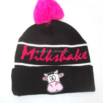 Knitted Pattern Bobble Beanie Adult Pompom Hat Embroidery Fold Up