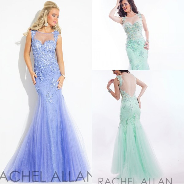 New Fashionable 2015 Rachel Allan Long Prom Dresses With Tulle Applique Sheer Back O-Neck Tulle Evening Dress for Formal Party