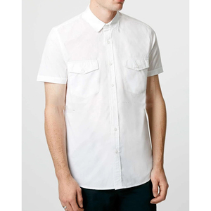 White Double Pocket Poplin Short Sleeve Casual Shirt