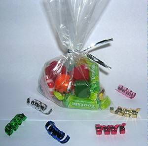 "100pcs 6""x10"" Clear Poly Bags with 100pcs 6 colors Twist Ties"