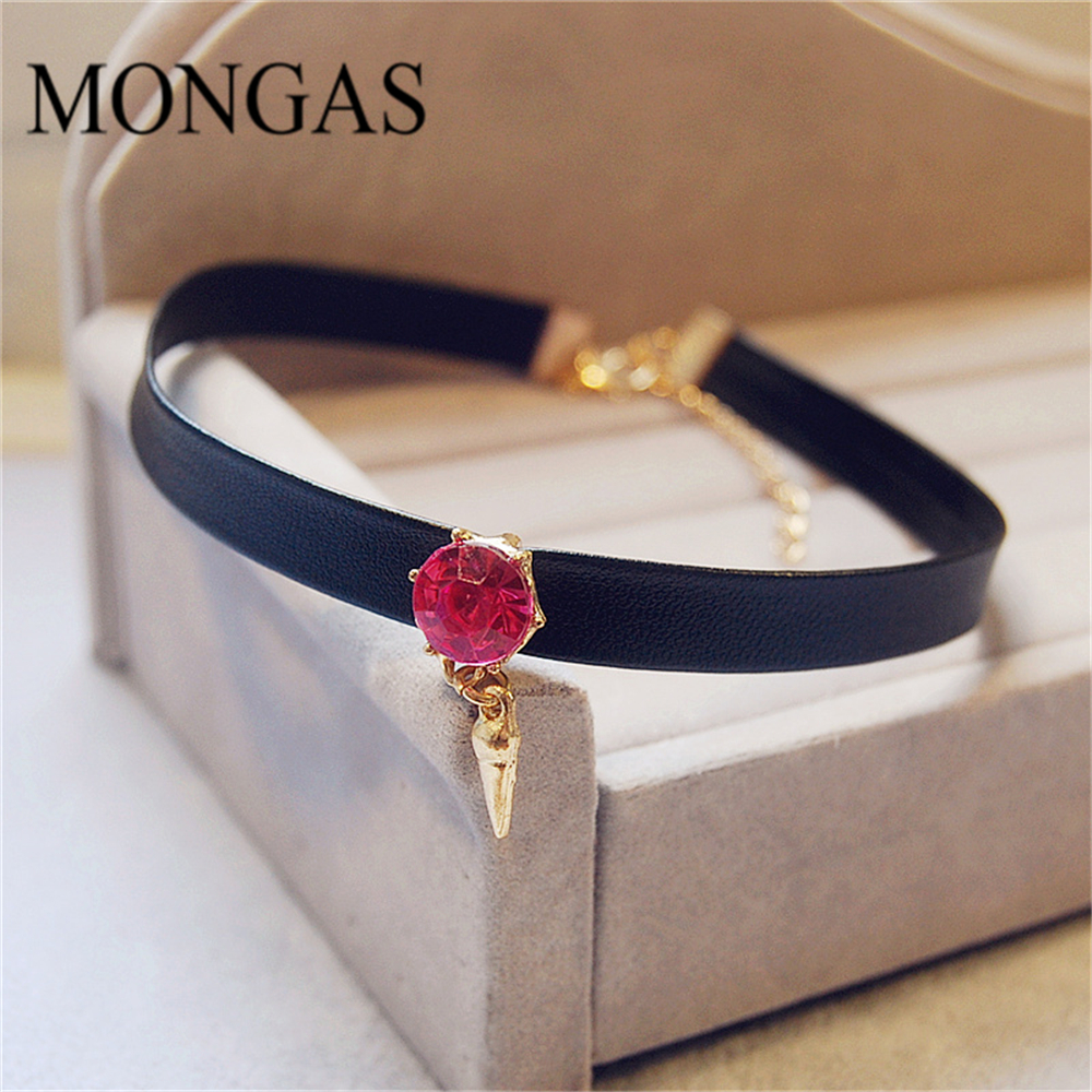 Attractive Simple Design Mongas Pink Ruby Black Leather Choker Necklace for Women
