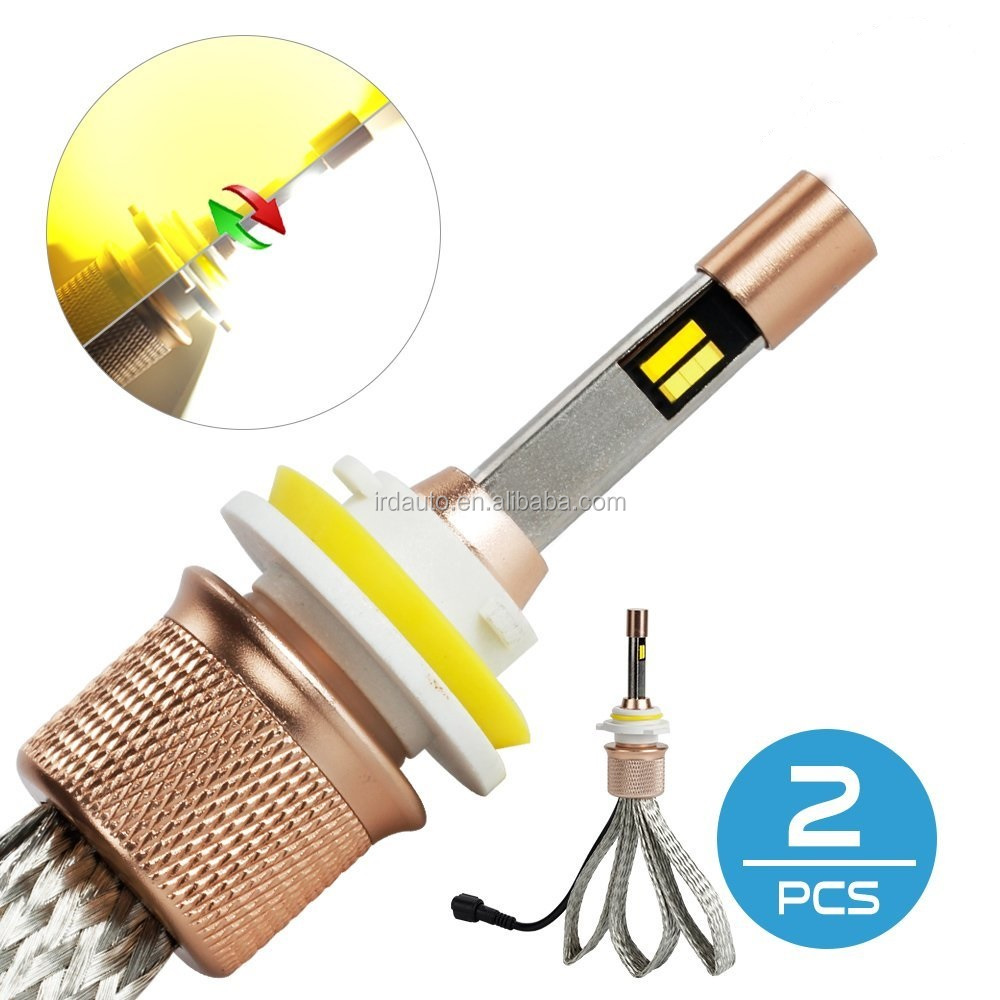 Dual Color White/Golden Led Headlight Bulbs Conversion Kit h1 h3 h7 9005/hb3 9006/hb4 h4/hb2 11000LM 6000K