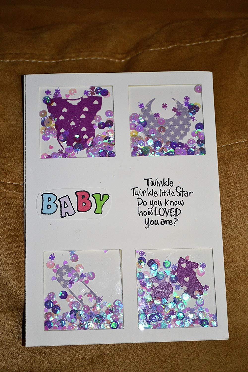 Get Quotations Welcome Baby Card Handmade Shaker Shower Gift Happy Birthday