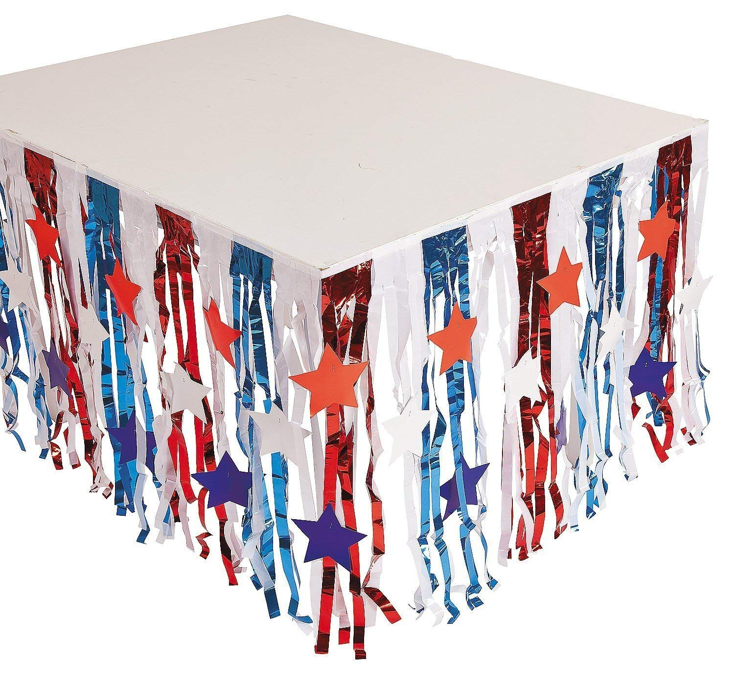 Fun Express Foil Patriotic Fringe Table Skirt with Star Cutouts | (Two-Pack) | 4th of July Independence Day Party Item