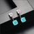 LUOTEEMI Fashion Jewelry Attractive Blue Pink CZ Stones Geometric Crystal Stud Earrings for Women Wedding Party Brincos Gift